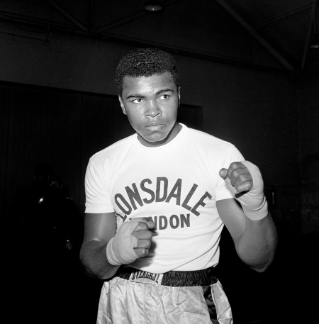Boxer Muhammad Ali during a training session at the Territorial Army Centre in White City, London, before his fight with British Heavyweight Champion Henry Cooper.